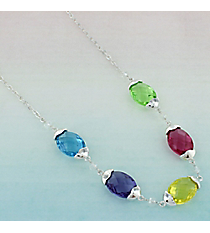 Multi-Color Faceted Oval Stone and Silvertone Necklace #AN0796-SMT