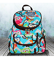 Aqua Chevron Owl Party Quilted Petite Backpack with Brown Trim #AQL286-BROWN