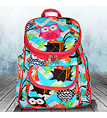 Aqua Chevron Owl Party Quilted Petite Backpack with Hot Pink Trim #AQL286-H/PINK