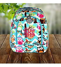 Aqua Chevron Owl Party Large Backpack with Aqua Trim #AQL403-AQUA