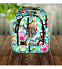Aqua Chevron Owl Party Large Backpack with Brown Trim #AQL403-BROWN