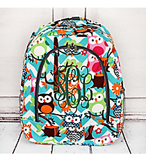 Aqua Chevron Owl Party Large Backpack with Gray Trim #AQL403-GRAY