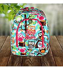 Aqua Chevron Owl Party Large Backpack with Hot Pink Trim #AQL403-HPINK