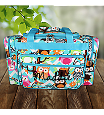 "20"" Aqua Chevron Owl Party Duffle Bag with Aqua Trim #AQL420-AQUA"