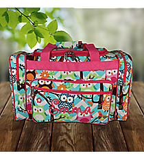 "20"" Aqua Chevron Owl Party Duffle Bag with Hot Pink Trim #AQL420-HPINK"