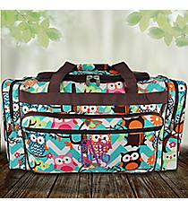 "23"" Aqua Chevron Owl Party Duffle Bag with Brown Trim #AQL423-BROWN"