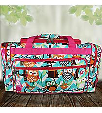 "23"" Aqua Chevron Owl Party Duffle Bag with Hot Pink Trim #AQL423-HPINK"