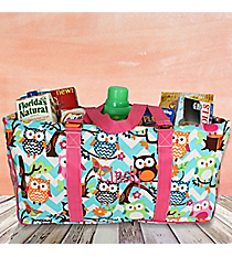 Aqua Chevron Owl with Hot Pink Trim Collapsible Haul-It-All Basket with Mesh Pockets #AQL603-HPINK