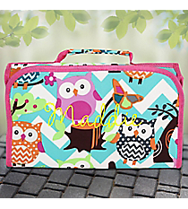 Aqua Chevron Owl Party Roll Up Cosmetic Bag with Hot Pink Trim #AQL729-HPINK