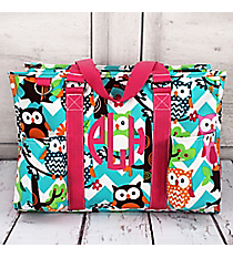 Aqua Chevron Owl Party Utility Tote with Hot Pink Trim #AQL731-HPINK