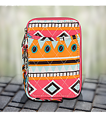 Aztec Print with Pink Trim Quilted Wristlet #AQM495-PINK