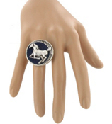 Western Denim and Silvertone Crystal Horse Stretch Ring #AR0099-SB