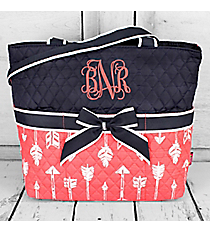 Straight & Arrow Coral Quilted Diaper Bag with Navy Trim #ARB2121-CORAL