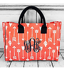 Straight & Arrow Coral Wide Tote Bag with Navy Trim #ARB581-CORAL