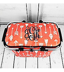 Straight & Arrow Coral with Navy Trim Collapsible Insulated Market Basket with Lid #ARB658-CORAL