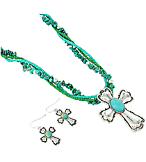 "18"" Silvertone and Turquoise Stone Cross Necklace and Earring Set #AS2012-ASTQ"
