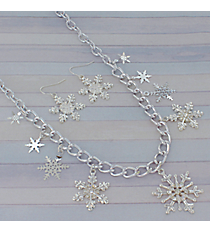 """22"""" Silvertone Snowflake Charm Necklace and Earring Set #AS3203-SC"""