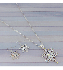"18"" Iridescent Crystal Accented Silvertone Snowflake Necklace and Earring Set #AS4590-SAB"