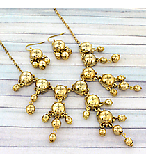 "17"" Goldtone Bubble Necklace and Earring Set #AS4704-G"