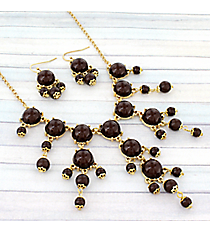 "17"" Goldtone and Chocolate Brown Bubble Necklace and Earring Set #AS4704-GB2"