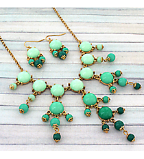 "17"" Goldtone and Green Ombre Bubble Necklace and Earring Set #AS4704-GE3"