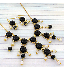 "17"" Goldtone and Black & White Bubble Necklace and Earring Set #AS4704-GJWbble Necklace and Earring Set #AS4704-GJW"