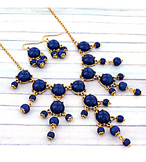 "17"" Goldtone and Midnight Blue Bubble Necklace and Earring Set #AS4704-GM"