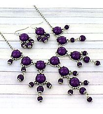 "17"" Silvertone and Purple Bubble Necklace and Earring Set #AS4704-RHA"