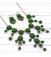 """17"""" Silvertone and Green Bubble Necklace and Earring Set #AS4704-RHE"""