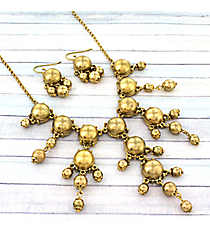 "17"" Burnished Goldtone Bubble Necklace and Earring Set #AS4704-WG"