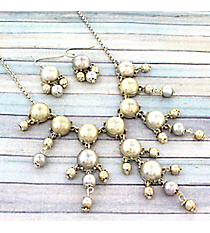 "17"" White Silvertone Bubble Necklace and Earring Set #AS4704-WS"
