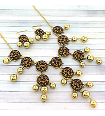 "26"" Leopard Bubble Necklace and Earring Set #AS4770-GB4"