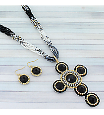 """18"""" Black and White Iridescent Cross Necklace and Earring Set #AS4964-GJ"""