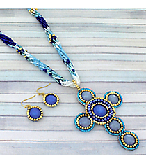 "18"" Multi-Blue Iridescent Cross Necklace and Earring Set #AS4964-GMT"