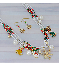 "18"" Multi-Strand Beaded Christmas Charm Necklace and Earring Set #AS5070-AGMX"