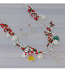 "18"" Multi-Strand Beaded Christmas Charm Necklace and Earring Set #AS5070-ASMX"