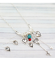 """24"""" Silvertone Key to My Heart Dangling Charm Pendant Necklace and Earring Set #AS5099-AS"""