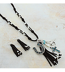 "27"" Brown Leather and Two-Tone Western Tassel Pendant Necklace and Earring Set #AS5221-TTB"