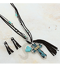 "27"" Brown Leather and Tri-Tone Cross Tassel Pendant Necklace and Earring Set #AS5222-3TB"