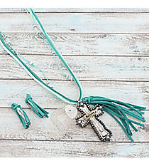 "27"" Green Leather and Tri-Tone Cross Tassel Pendant Necklace and Earring Set #AS5222-3TTQ"