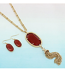 """27"""" Red Oval Necklace and Earring Set #AS5225-GR"""