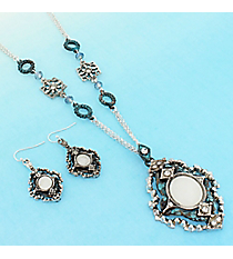Vintage Burnished Silvertone and Patina Medallion Necklace and Earring Set #AS5246-TT