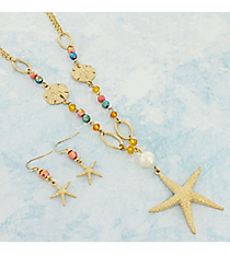 "27"" Multi-Color Beaded Goldtone Starfish Pendant Necklace and Earring Set #AS5253-GMT"