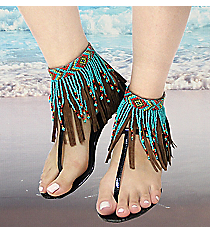 1 Pair Turquoise Multi Seed Bead and Brown Leather Fringe Anklets #AT0020-BMT