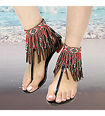 1 Pair Coral Multi Seed Bead and Brown Leather Fringe Anklets #AT0020-BO