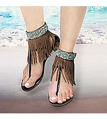 1 Pair Crystal and Mint Bead Brown Leather Fringe Anklets #AT0021-BTQ