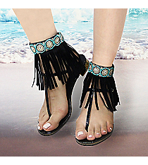 1 Pair Crystal and Turquoise Bead Black Leather Fringe Anklets #AT0021-JTQ
