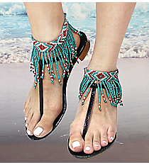1 Pair Turquoise, Coral, and Cream Seed Bead Fringe Anklets #AT0022-TQC