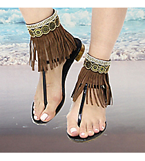 1 Pair Crystal & Bead Gold Medallion Brown Leather Fringe Anklets #AT0023-AGBW
