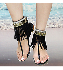 1 Pair Crystal & Bead Gold Medallion Black Leather Fringe Anklets #AT0023-AGJ